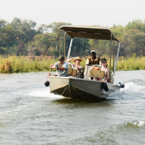 Boat transfer on Zambezi