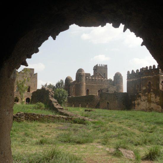 Castle through ruins