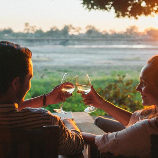 Couple toasting view on safari
