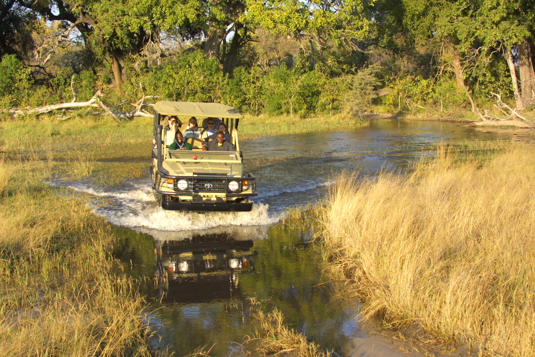 Jeep driving through water