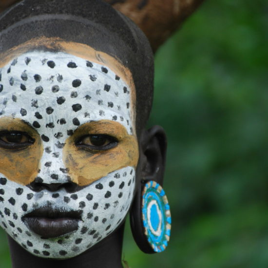 Mursi Woman Painted Face
