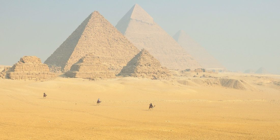 Pyramids with Camel in Egypt