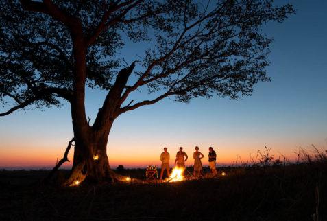 Sundowner and campfire