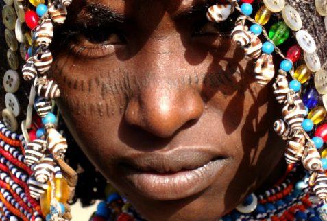 Woman with beaded headress